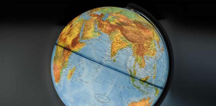 Illuminated World Globe Blue