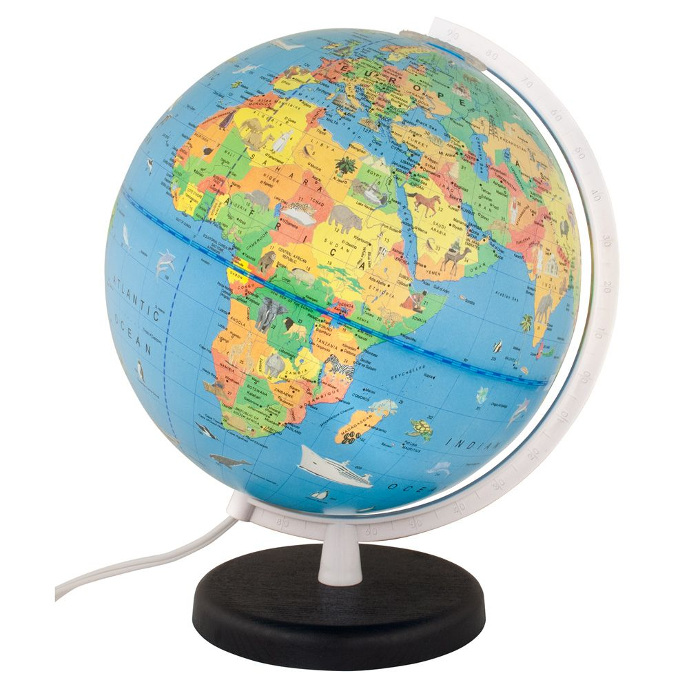 Columbus Voyage Light Up Globe For Kids With Animals 10 Inch